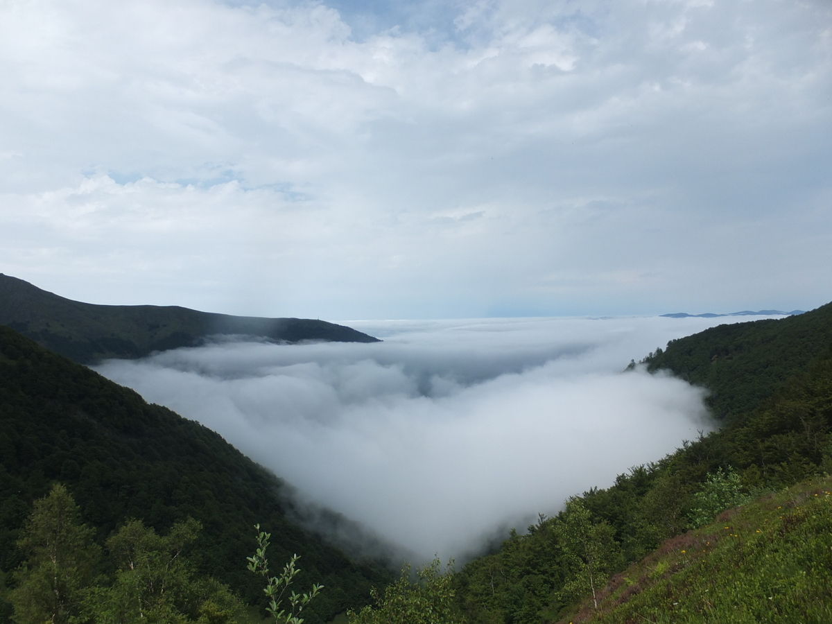 Seix covered in a blanket of cloud. View from the Freedom Trail (Le Chemin de la Liberte)